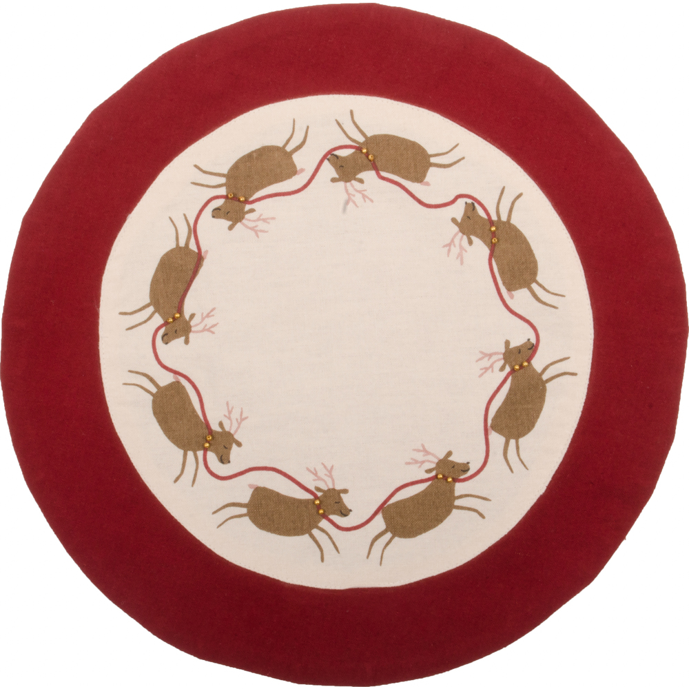 Run Run Reindeer Candle Mat Buttermilk