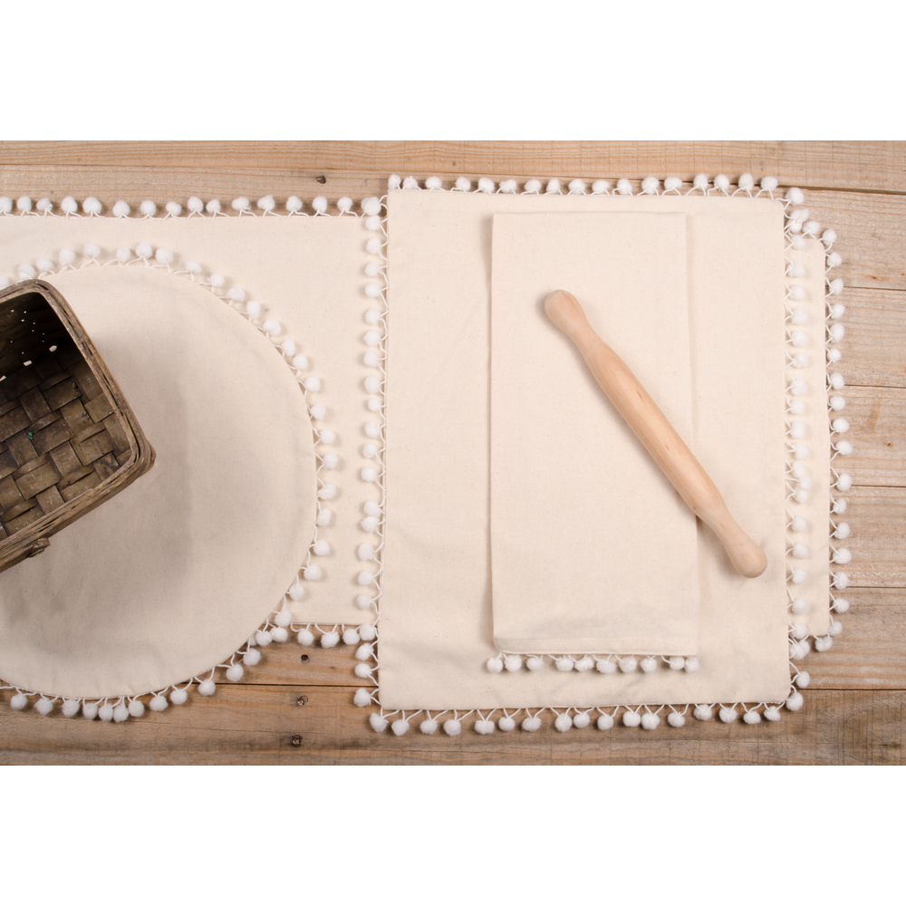 Homespun Pompom Candle Mat Buttermilk