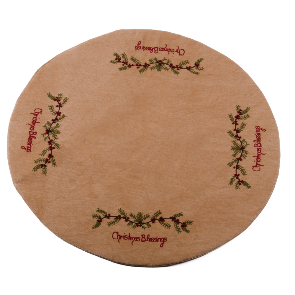 Christmas Blessings Candle Mat Tea Dyed
