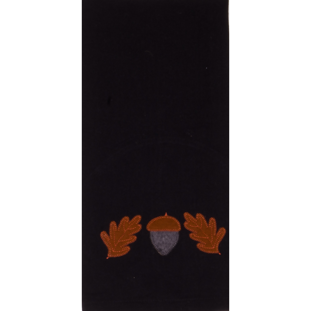 Acorn & Oak Leaf Black Towel