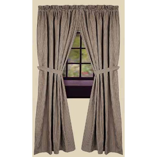 "York Ticking Drapery Panels 86"" Black"