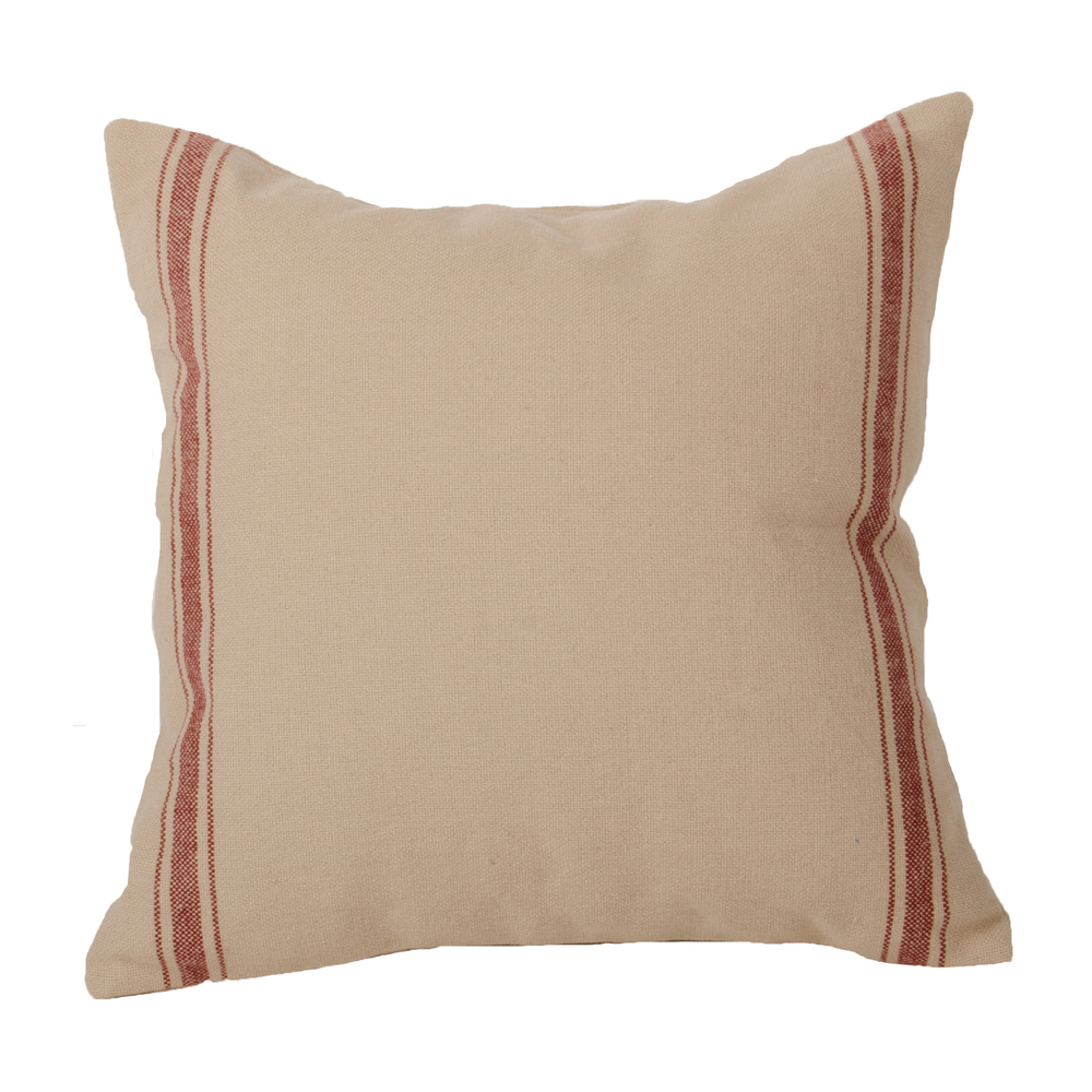 Grain Sack Stripe Barn Red Pillow Grain Sack-Barn Red
