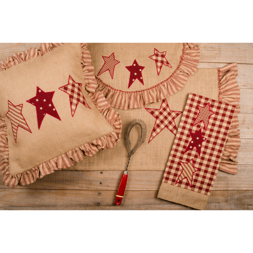 Patriotic Star Pillow Burlap