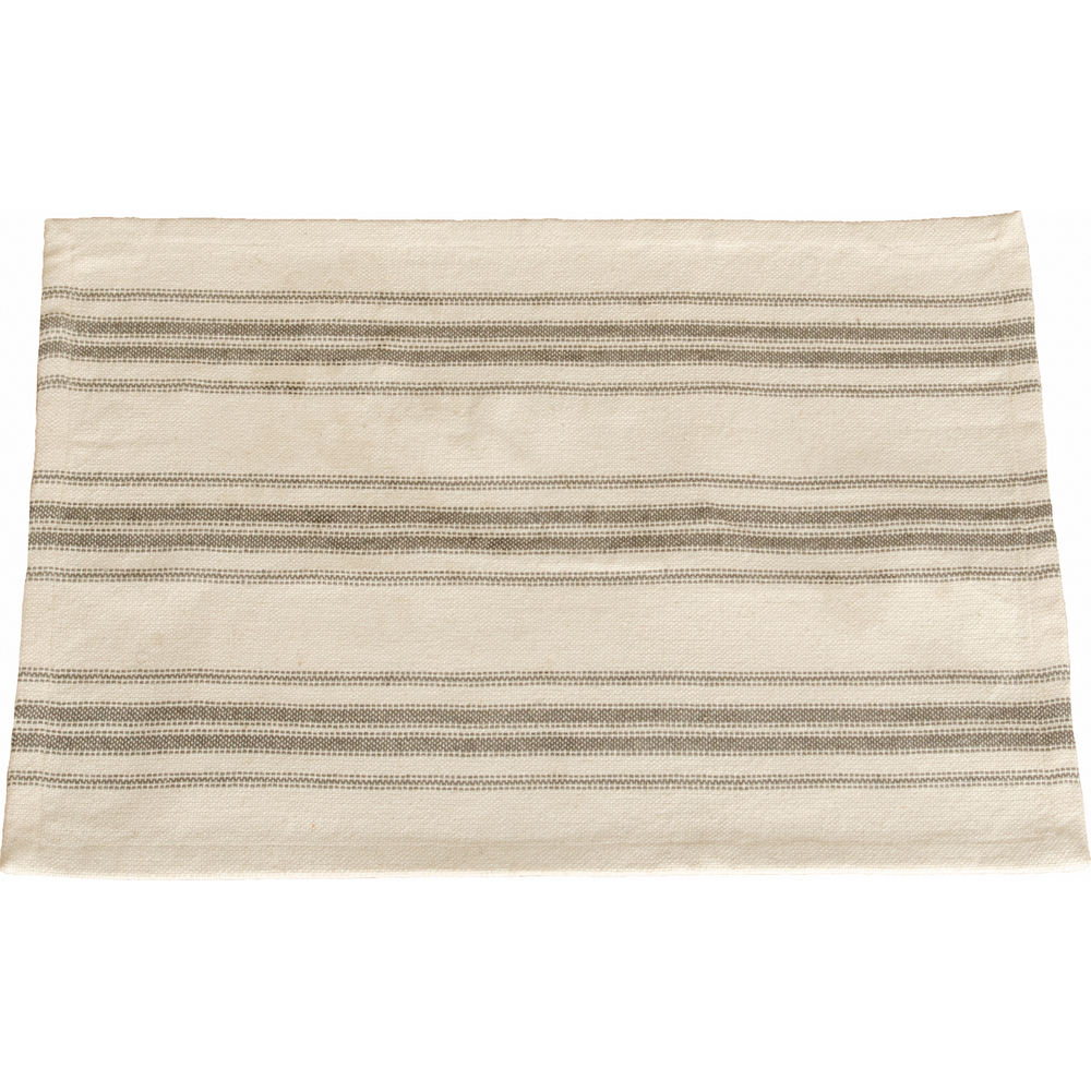 Grain Sack Stripe Cream - Pewter Placemat