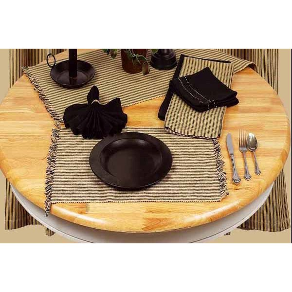York Ticking Placemat Black