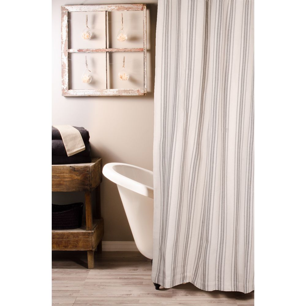 Grain Sack Stripe Pewter-Cream Shower Curtain