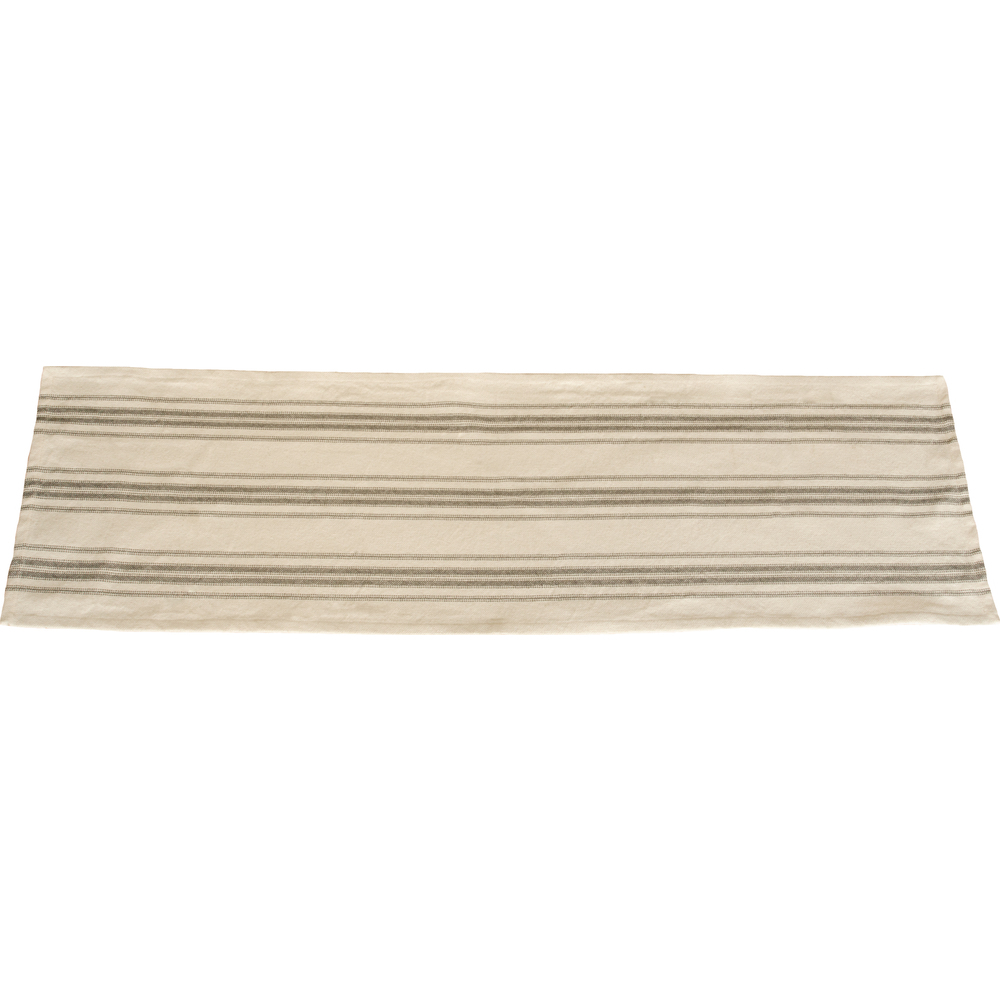 "Grain Sack Stripe Cream - Pewter 45"" Runner"