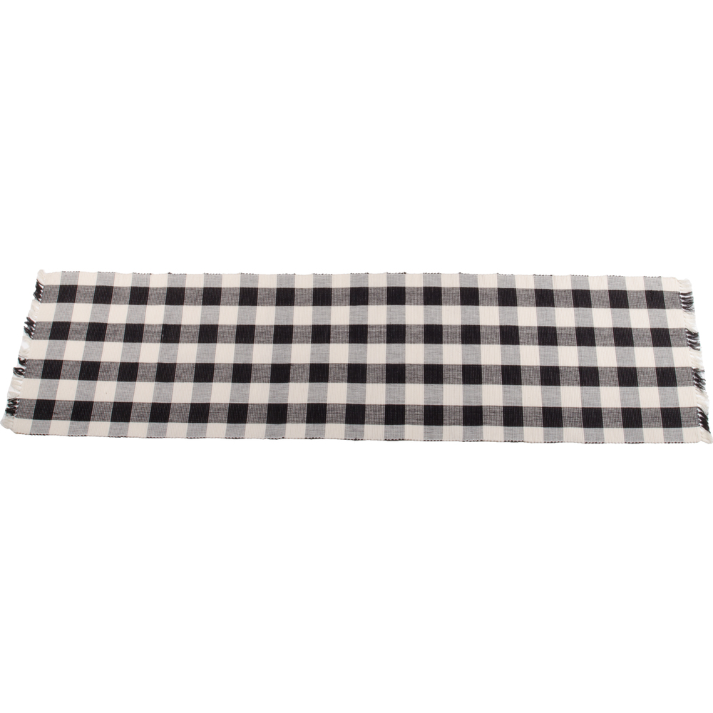 "Buffalo Check 45"" Table Runner Black - Buttermilk"