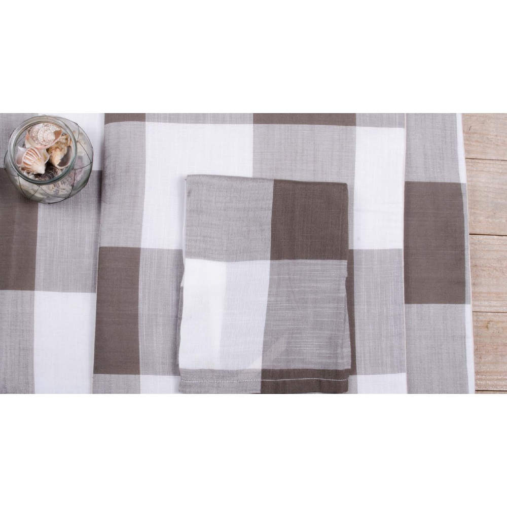 "Buffalo Check 45"" Table Runner Cream - Pewter"