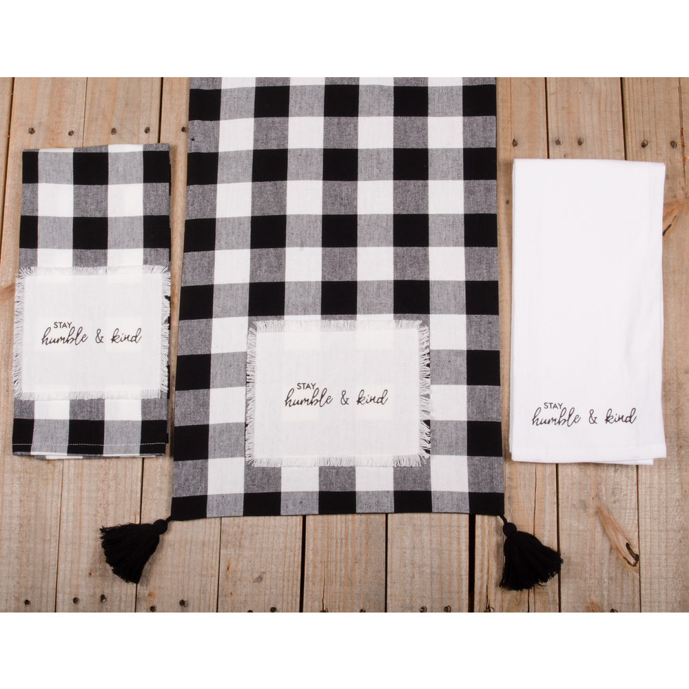 "Buffalo Check Stay Humble & Kind 54"" Table Runner"