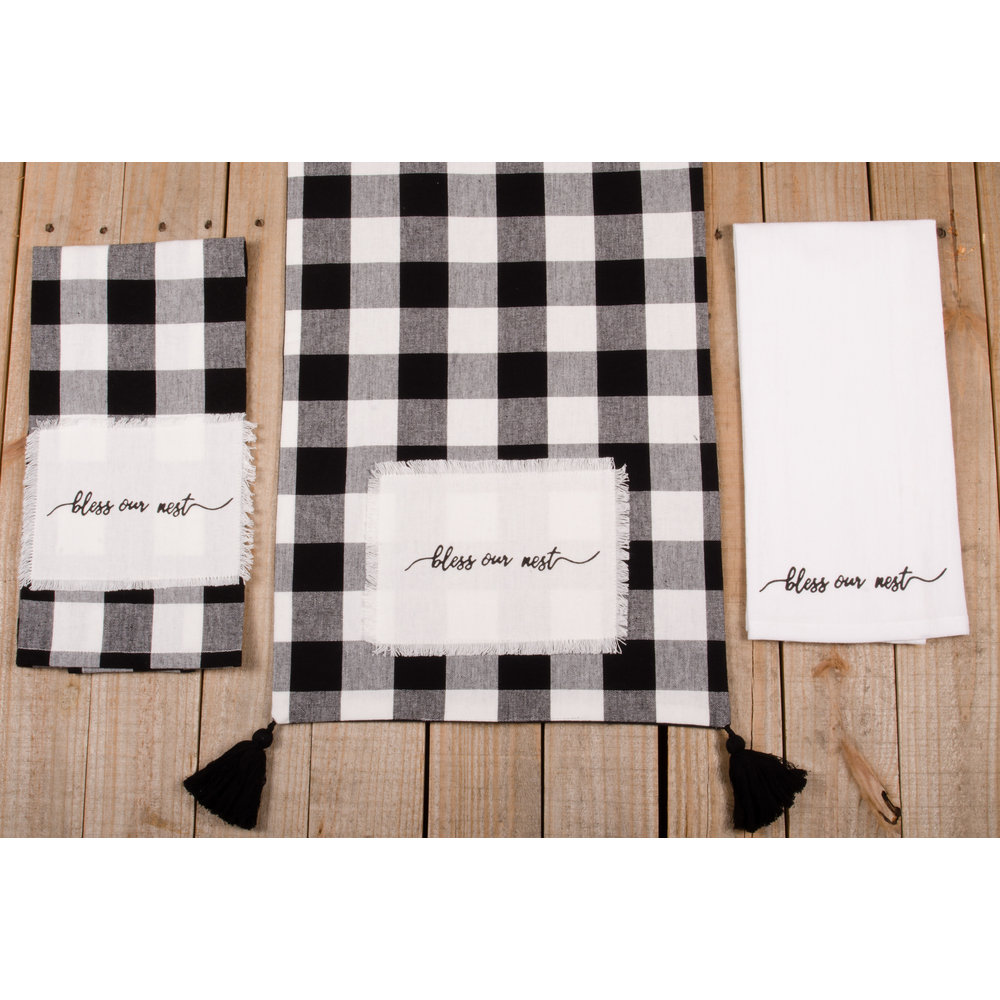"Buffalo Check Bless Our Nest 54"" Table Runner"