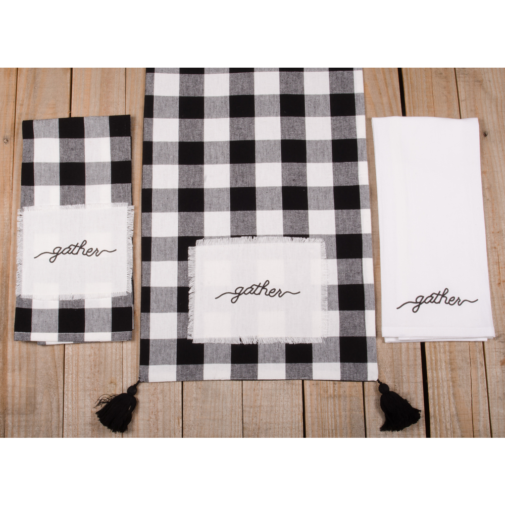 "Buffalo Check Gather 54"" Table Runner"