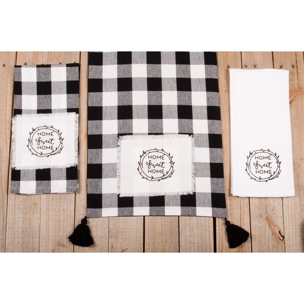 "Buffalo Check Home Sweet Home 54"" Table Runner"
