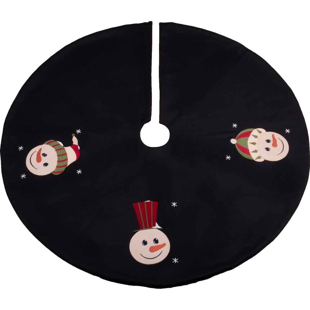 Snowfriends Tree Skirt Black-Barn Red