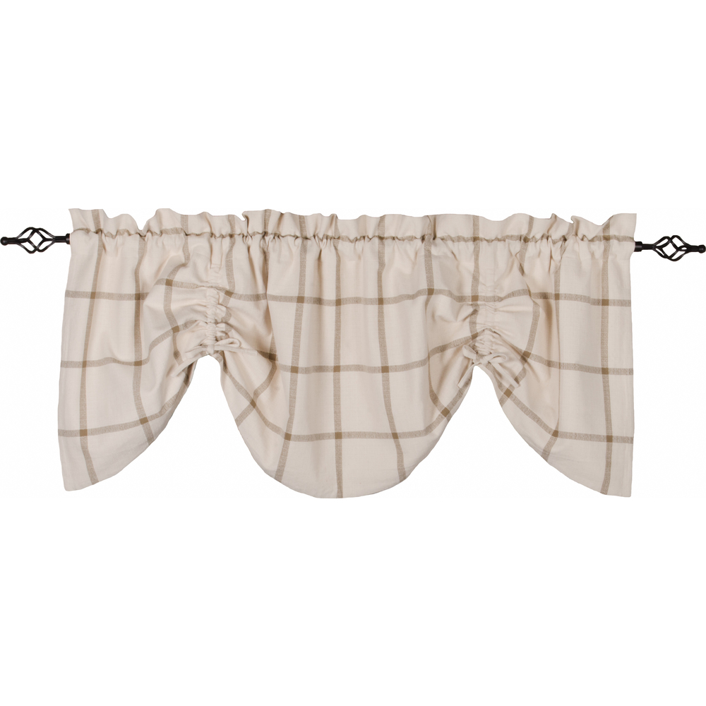 Bexley Check Gathered Valance Cream - Oat