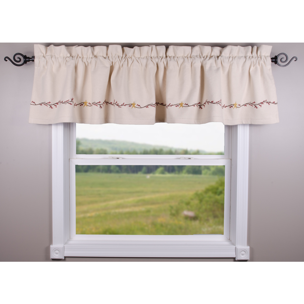 Homespun Berry Grain Sack Cream Valance