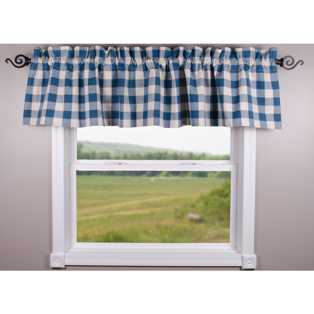 Buffalo Check Colonial Blue-Buttermilk Valance