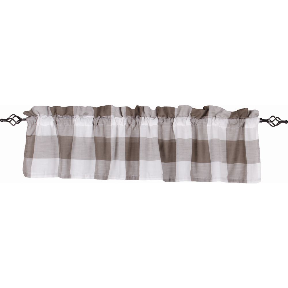 Buffalo Check Valance Cream - Pewter