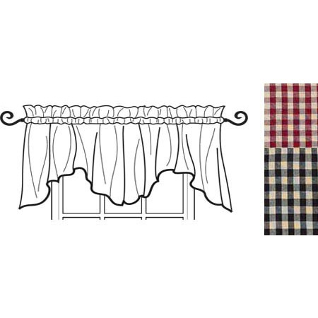 Heritage House Check Scalloped Valance Barn Red