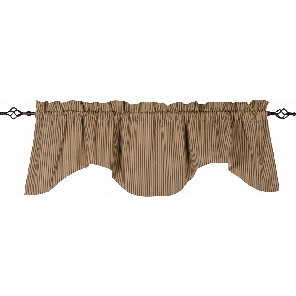 York Ticking Scalloped Valance Black - Nutmeg
