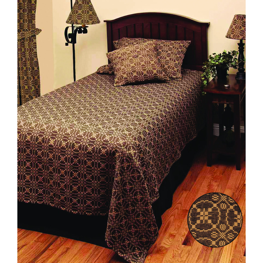 Marshfield Jacquard Bedcover King Black-Tan