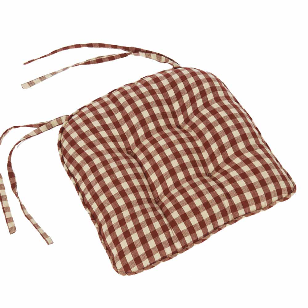 Heritage House Check Chair Pad Barn Red