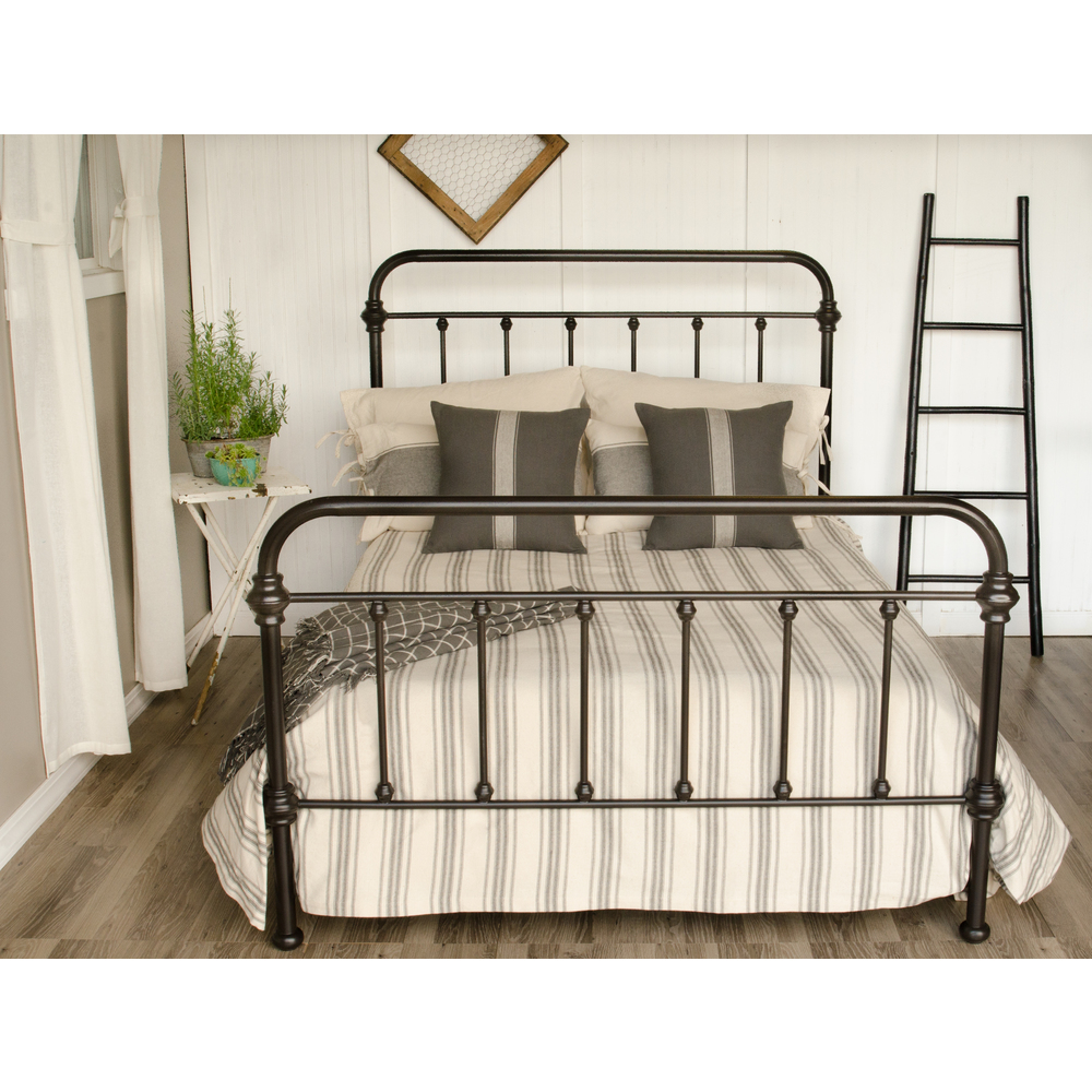 Grain Sack Stripe Cream - Pewter Queen Bed Cover