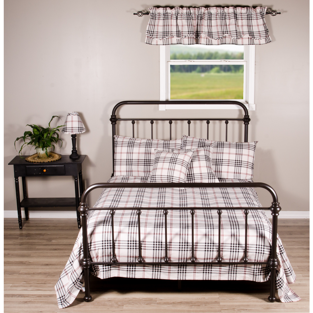 Chesterfield Check Cream - Black - Red Twin Bed Cover