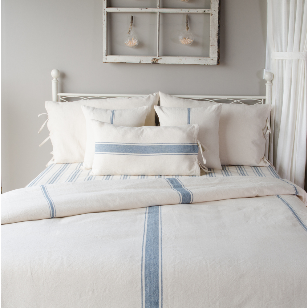 Grain Sack Stripe Colonial Blue-Cream Duvet Cover (Tie Closure)