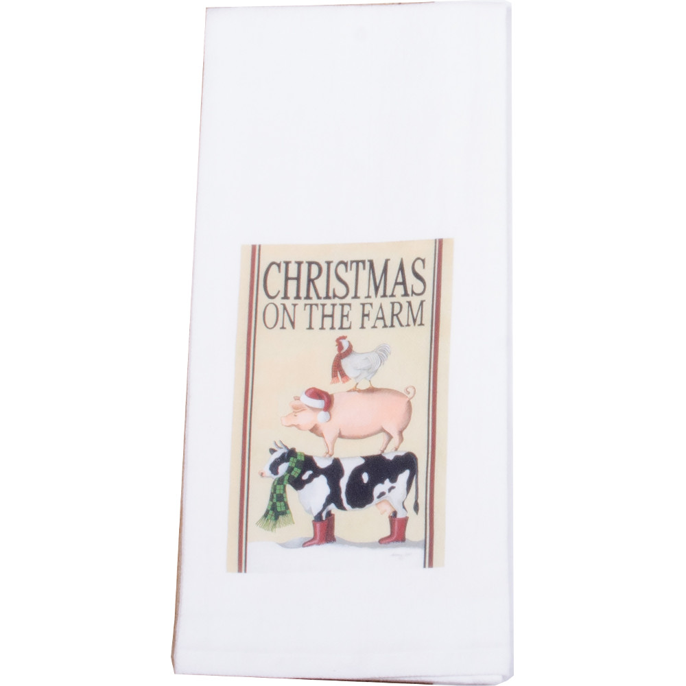 Christmas on the Farm White Towel