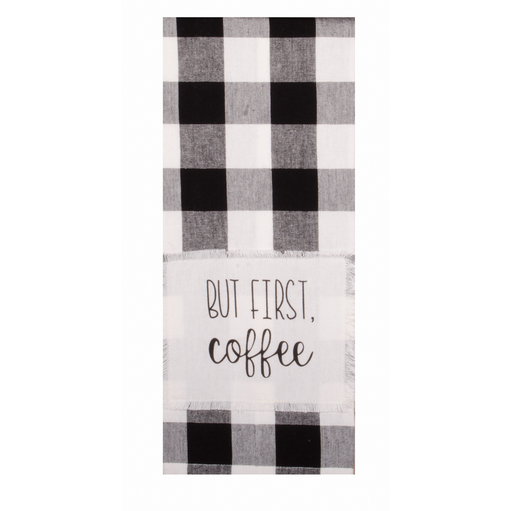 Buffalo Check But First Coffee Towel