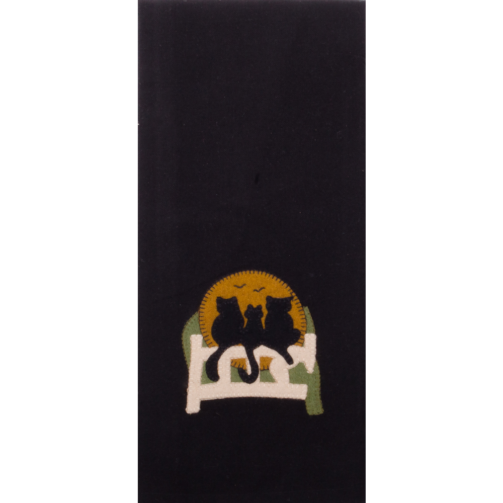 Cats on a Fence Towel Black