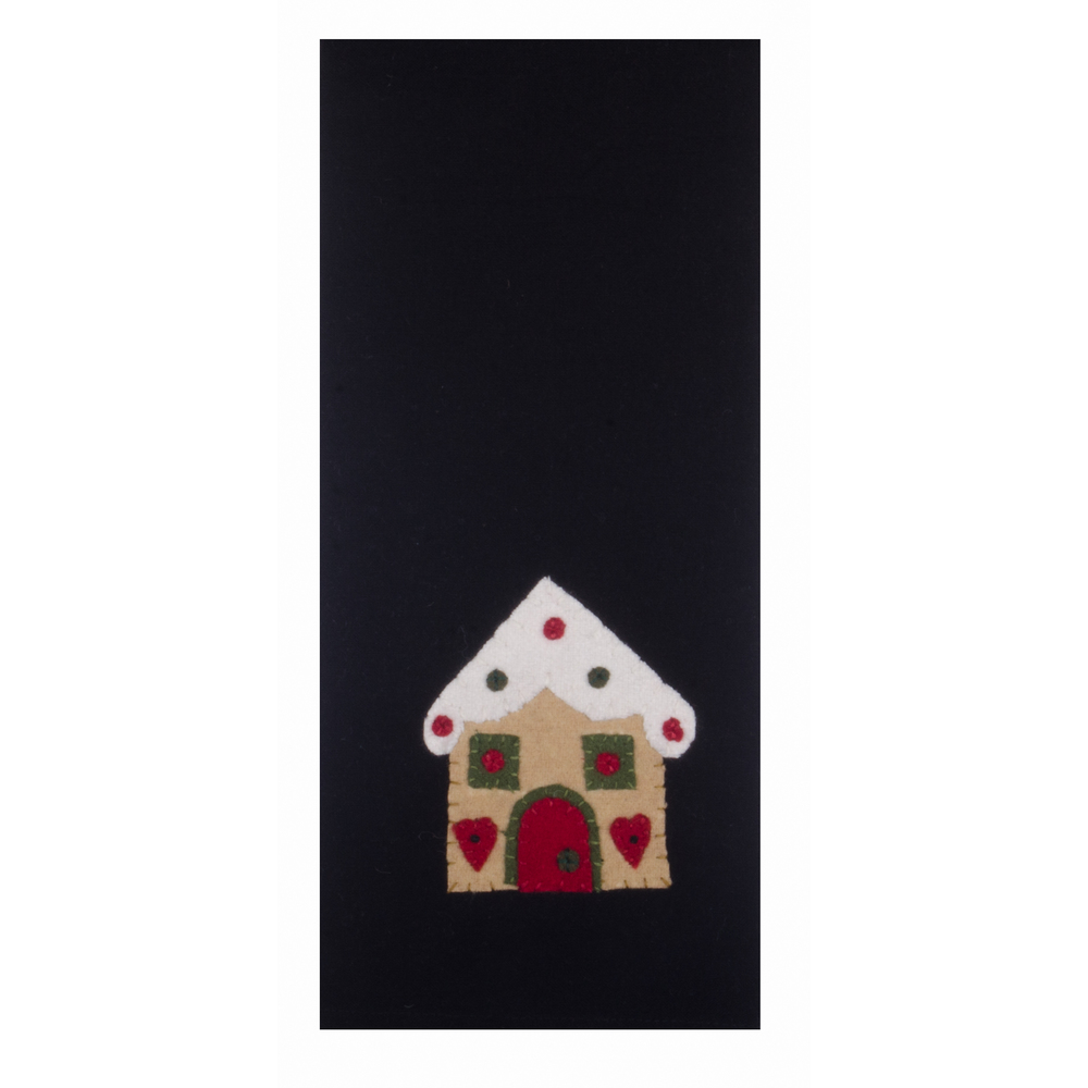 Gingerbread House Black Towel