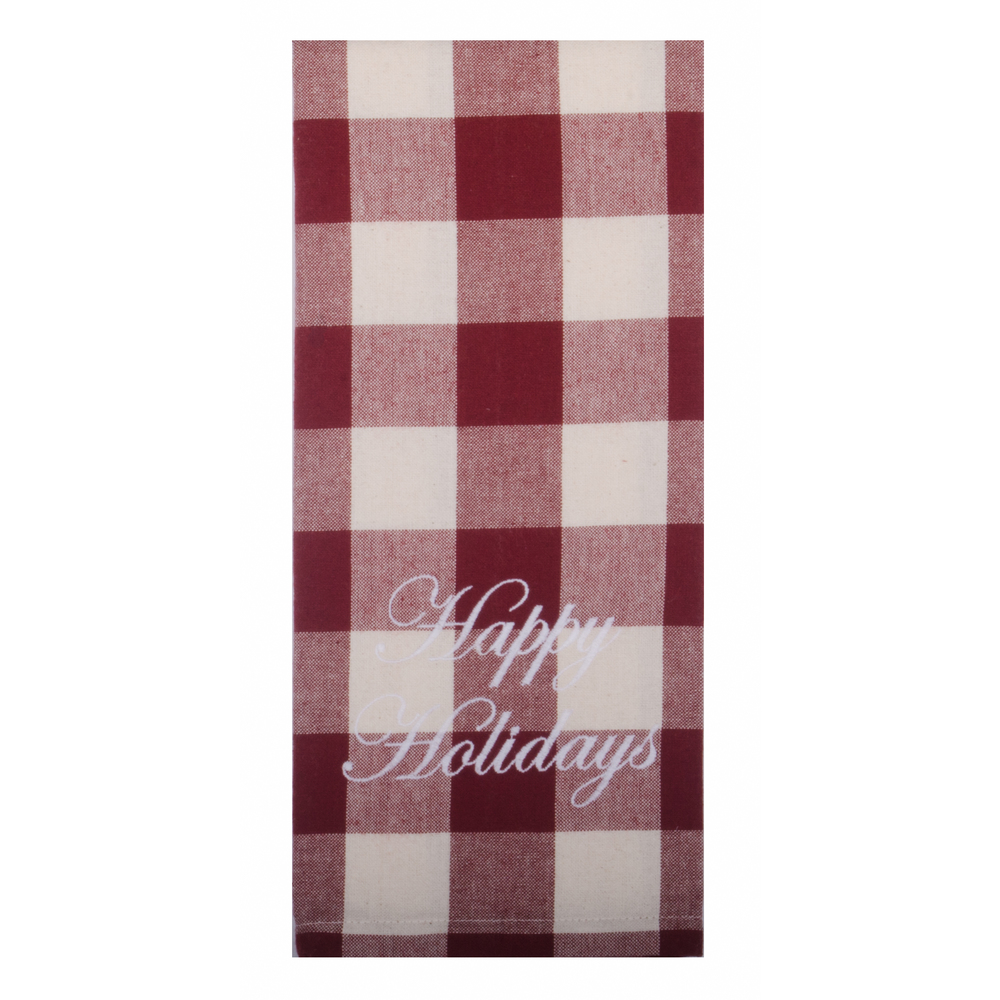 Buffalo Check - Happy Holidays Barn Red - White Towel