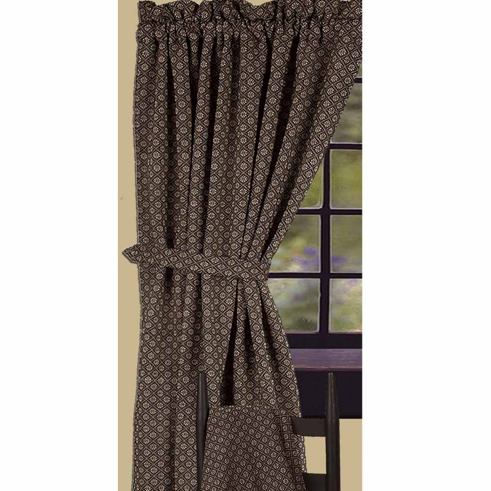"Kingston Jacquard Drapery Panels 86"" Black"