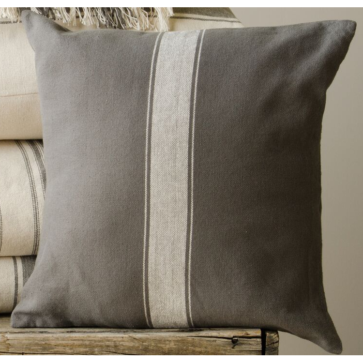 Grain Sack Stripe Cream - Pewter Pillow Cover