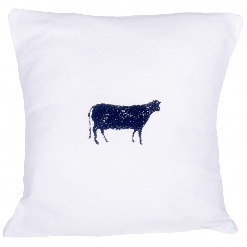 Farmhouse Cow White Pillow