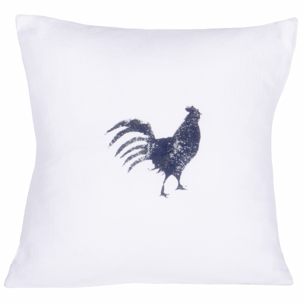 Farmhouse Rooster White Pillow
