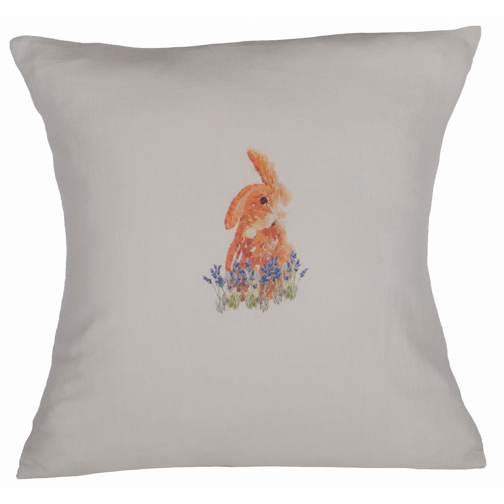 Lavender Rabbit Light Grey Pillow