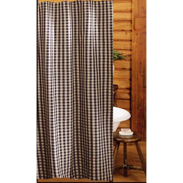 Heritage House Check Shower Curtain Black