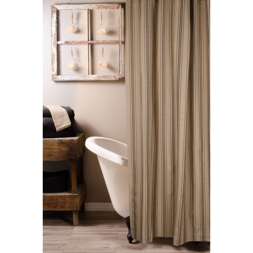 Grain Sack Stripe Oat - Black Shower Curtain