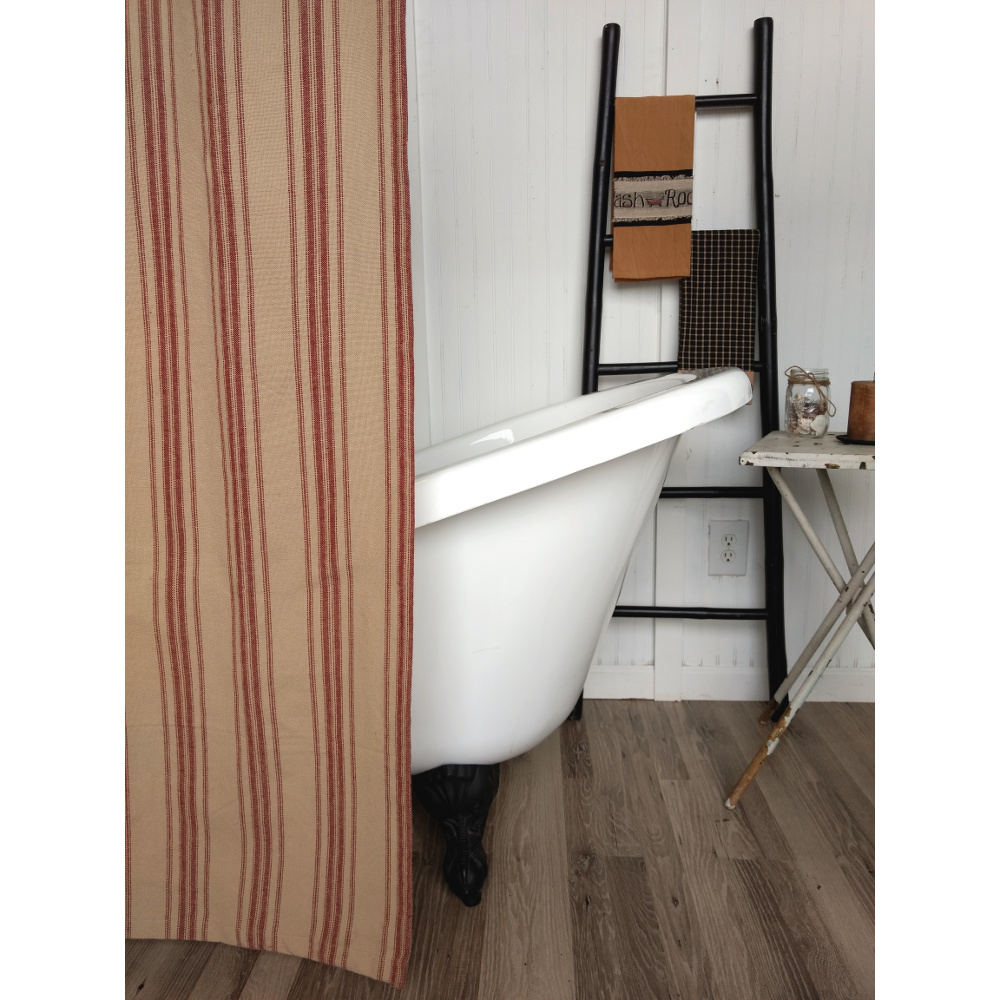 Grain Sack Stripe Oat-Barn Red Shower Curtain