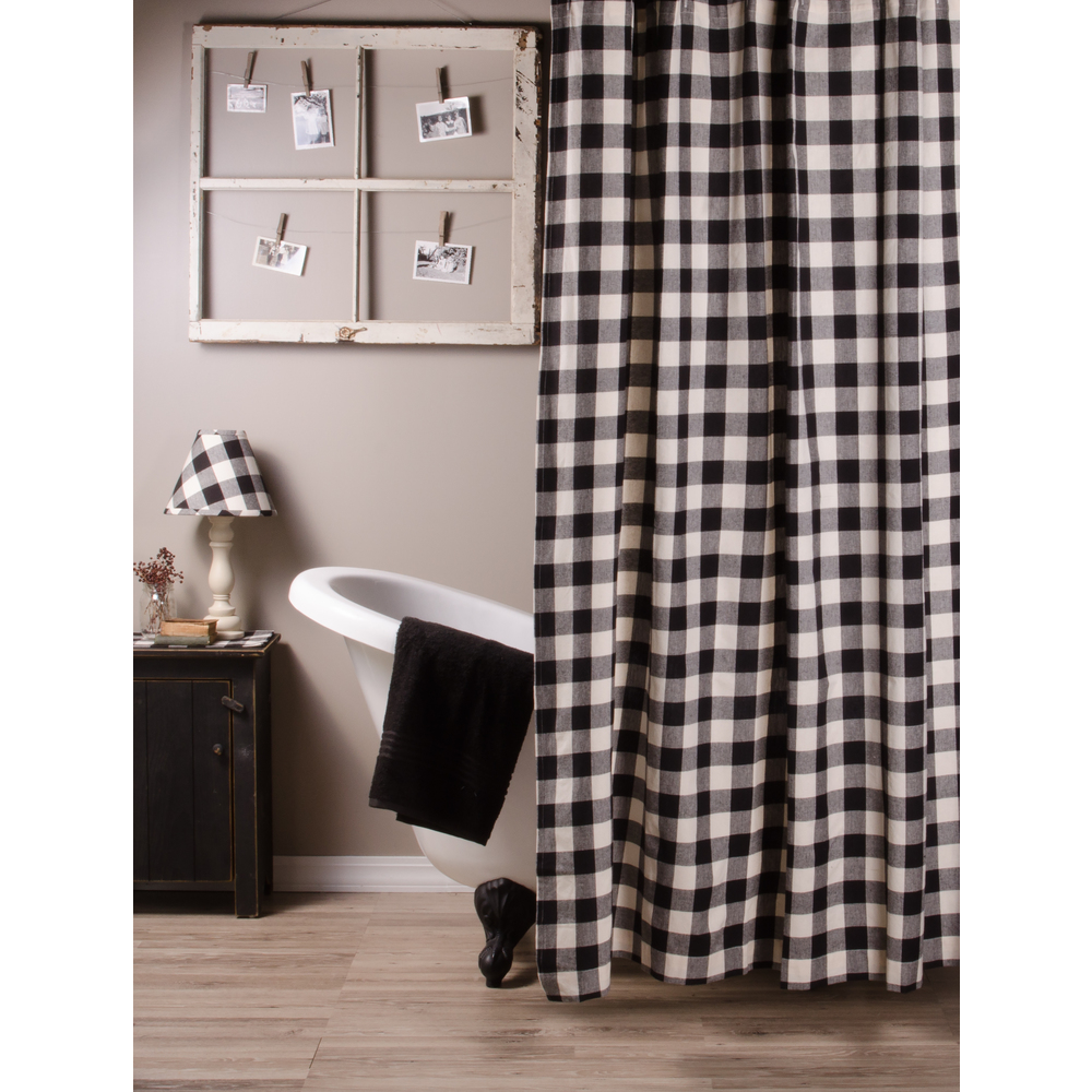 Buffalo Check Black-Buttermilk Shower Curtain