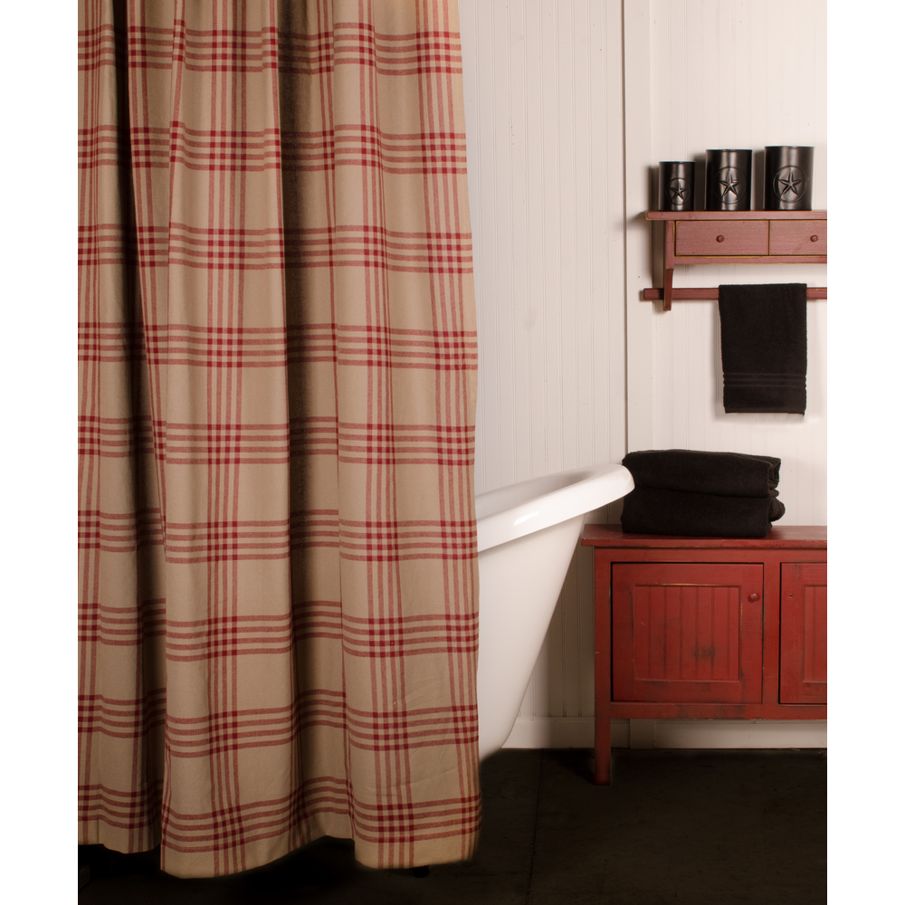 Chesterfield Check Barn Red Shower Curtain Oat-Barn Red