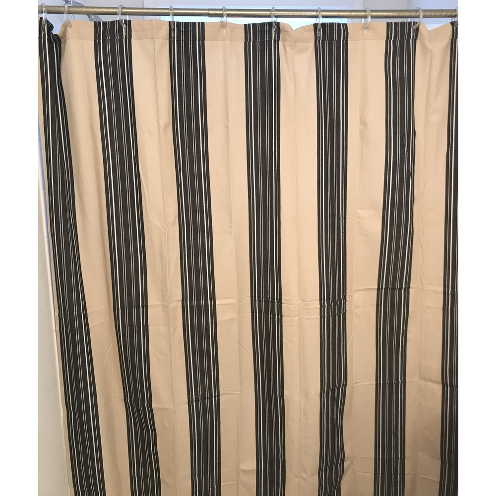 Farmhouse Stripe Natural-Black Shower Curtain