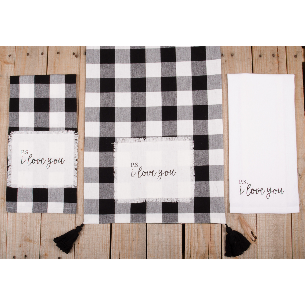 "Buffalo Check P.S. I Love You 54"" Table Runner"