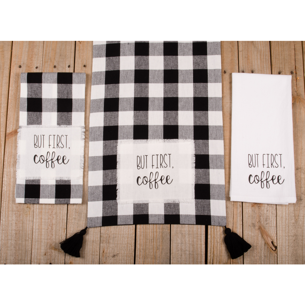 "Buffalo Check But First Coffee 54"" Table Runner"