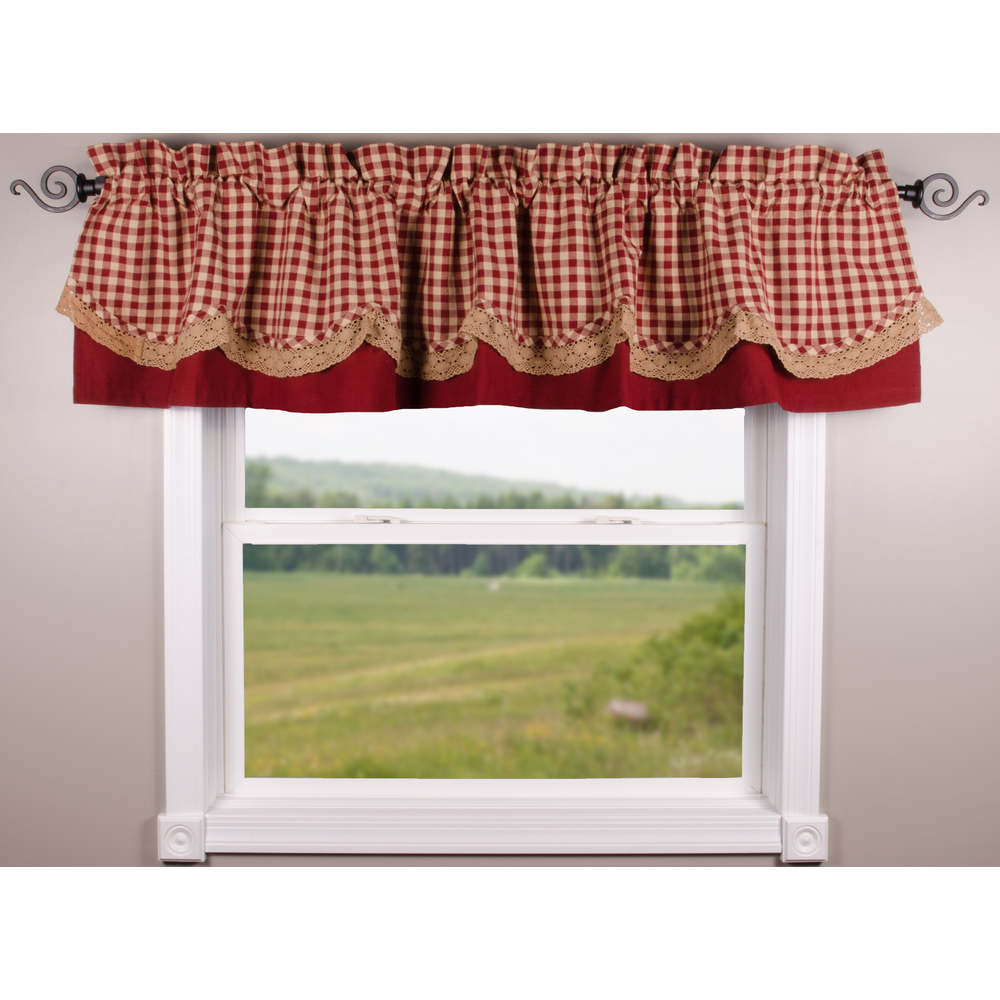 Heritage House Lace Barn Red - Nutmeg Fairfield Valance