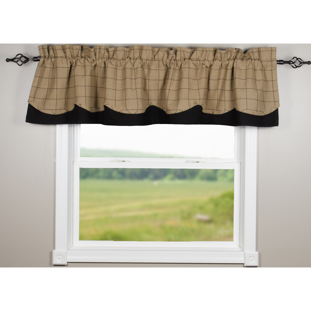 Alexander Check Oat-Black Fairfield Valance