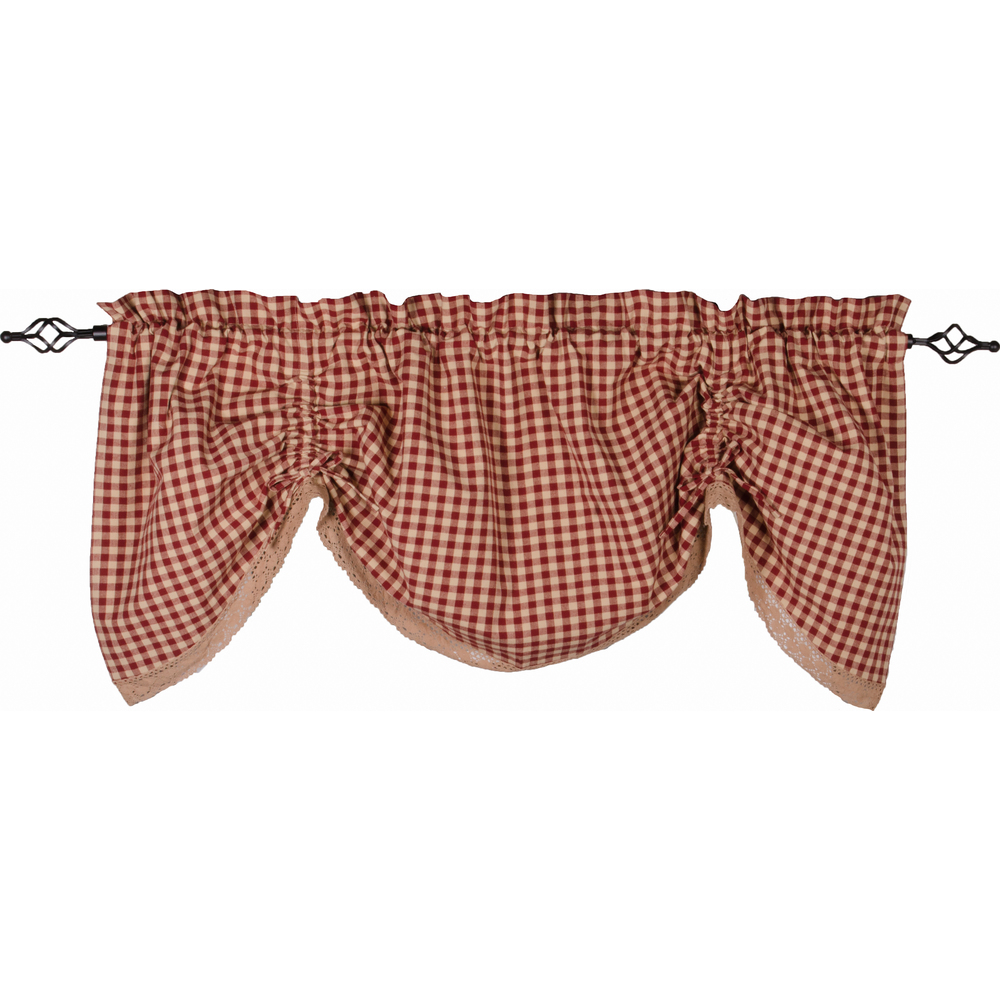 Heritage House Lace Gathered Valance Barn Red - Nutmeg